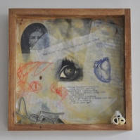 """The gaze of Grandmother Tekla's eyes, this age old look. The same darkness as that of the universe out there between the galaxies."" (The Blue Book VII), Encaustic, Acrylic, Mixed Media, Katrina Stock"
