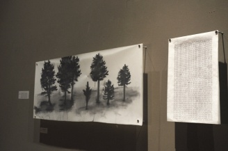 """We Begin Again, We Never Give Up"" (The Blue Book VI:1), Charcoal on mylar, type on tracing paper, Jenny Hawkinson"
