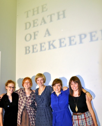 'Open Book Art Collective', (Left to Right), Joelle Gebhardt, Jenny Hawkinson, Cara Bain, Katrina Stock, Andrea Armstrong (missing Breanne McDaniel)
