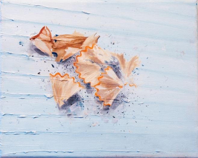 'Pencil Shavings' by Breanne McDaniel, Oil on Canvas. From Voices.
