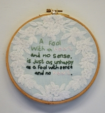 Emotional Happiness or Intellectual Pain Mahla Shapiro Embroidery on Linen and Cotton